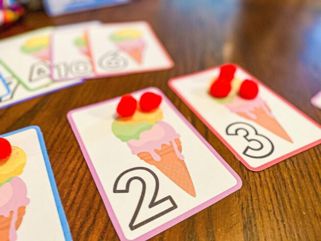 Ice Cream Pom-Pom Counting Printable for Toddlers