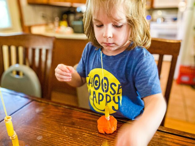 Noodle Threading Activity for Toddler