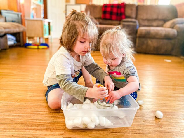 Snow Activity Bin for Toddlers