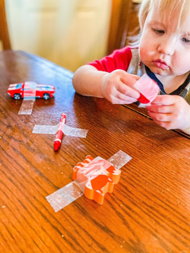 Taped Toys Activity for Toddlers