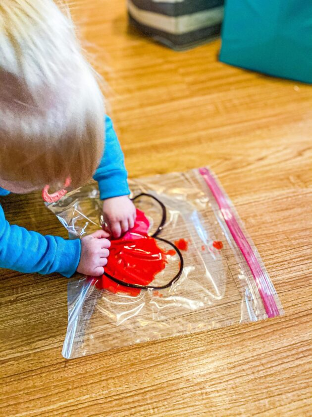 Valentine's Heart Sensory Bag for Toddlers